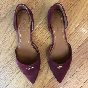Coach Genuine Suede Pointy Toe Flats